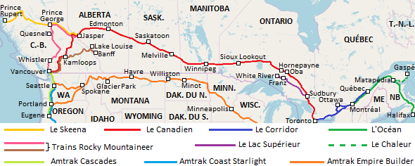Carte des trains du Canada